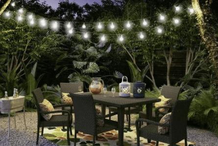luces colgantes para jardines pequeños